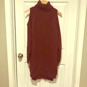 Cut-Out Turtleneck Sweater Dress